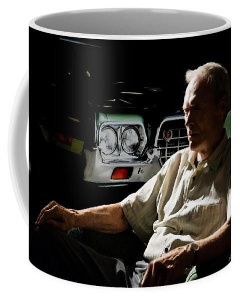 Clint Eastwood Coffee Mug featuring the digital art Clint Eastwood as Walt Kowalski in the film Grand Torino - Clint Eastwood - 2008 by Gabriel T Toro