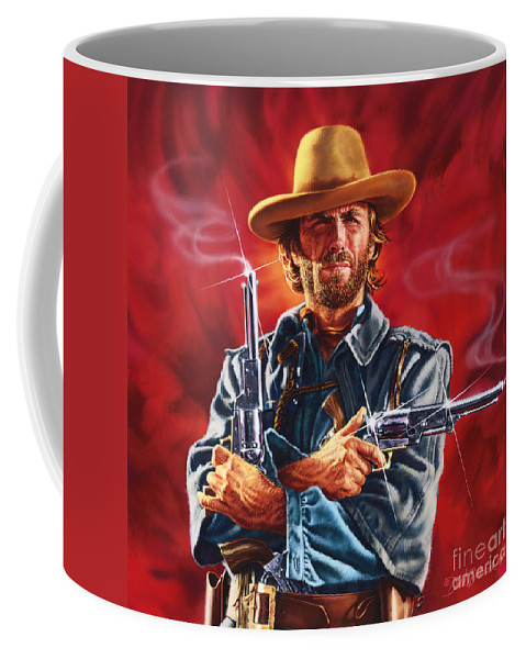 Portrait Coffee Mug featuring the painting Clint Eastwood by Dick Bobnick