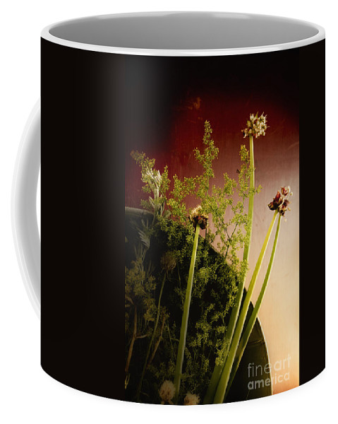 Flowers; Floral; Nature; Bowl; Cut; Clippings; Small; Petite; Pretty; Still Life; Country; Cottage; Weeds; Green; Red Coffee Mug featuring the photograph Clipped Stems by Margie Hurwich