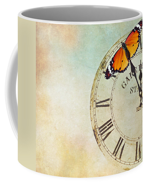 Butterfly Coffee Mug featuring the photograph Clock Five To Twelve by Heike Hultsch