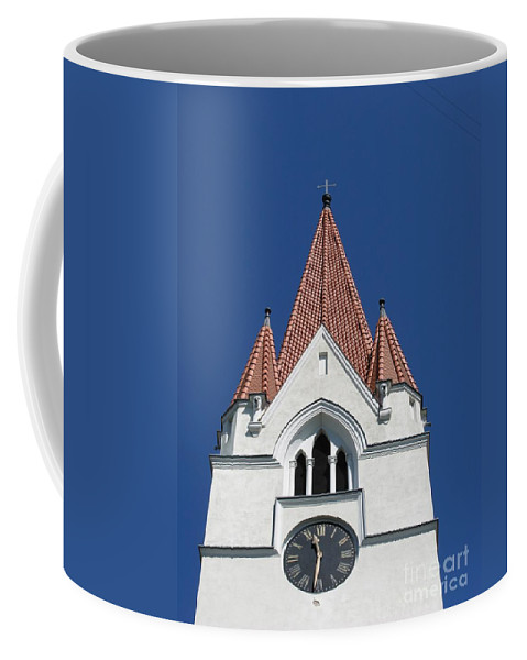 Clock Coffee Mug featuring the photograph Clock Tower. Evangelic Lutheran Church. Silute. Lithuania. by Ausra Huntington nee Paulauskaite