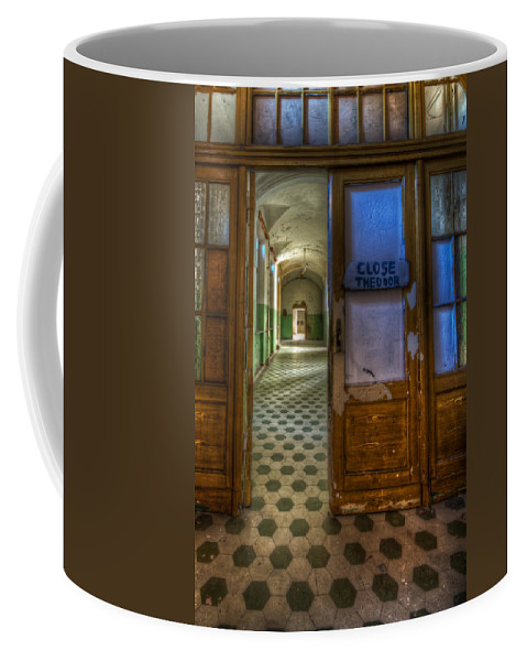 Horror Coffee Mug featuring the digital art Close The Door by Nathan Wright