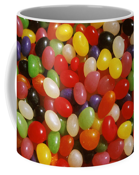 Close-up; Full Frame; Differential Focus; Backgrounds; Abundance; Simplicity; Jelly Beans; Colorful; Heap; Shiny; Sweet Food; Sweets; Candies Coffee Mug featuring the photograph Close Up Of Jelly Beans by Anonymous