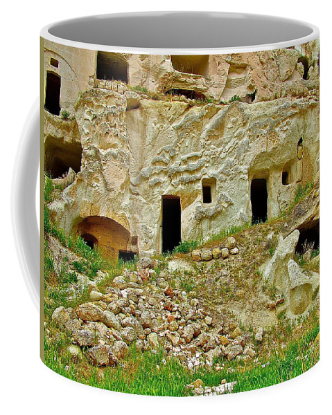 Close-up Of Tufa-carved Homes In Cappadocia Coffee Mug featuring the photograph Close-up Of Tufa-carved Homes In Cappadocia-turkey by Ruth Hager