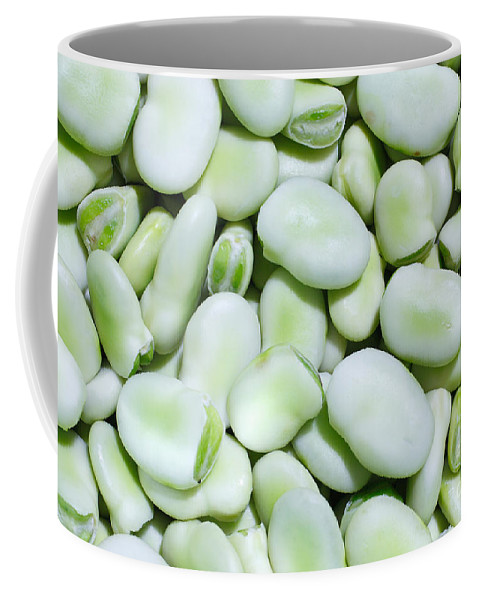 Fava Beans Coffee Mug featuring the photograph Closeup Of Fresh Fava Beans by Gaspar Avila