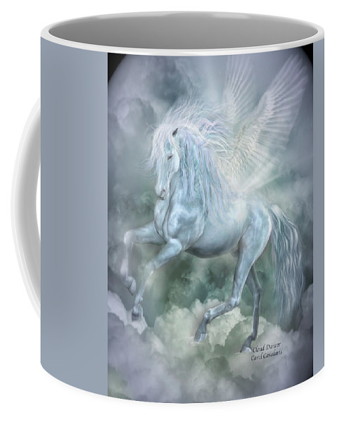 Pegasus Coffee Mug featuring the mixed media Cloud Dancer by Carol Cavalaris