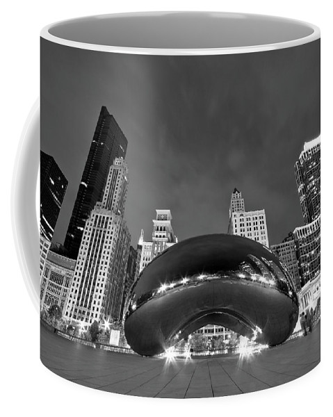 3scape Coffee Mug featuring the photograph Cloud Gate and Skyline by Adam Romanowicz