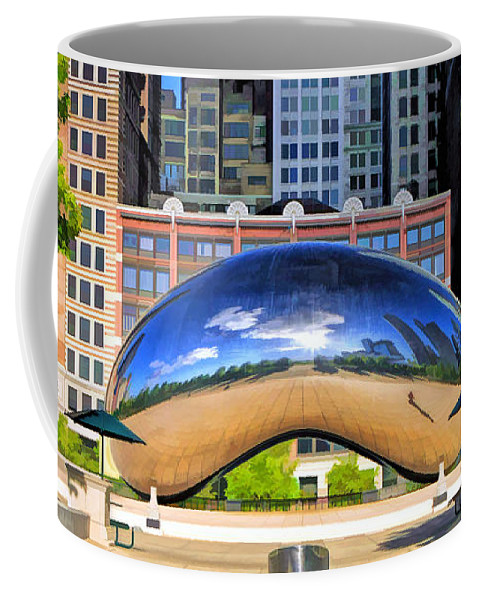 Chicago Coffee Mug featuring the painting Cloud Gate Park by Christopher Arndt