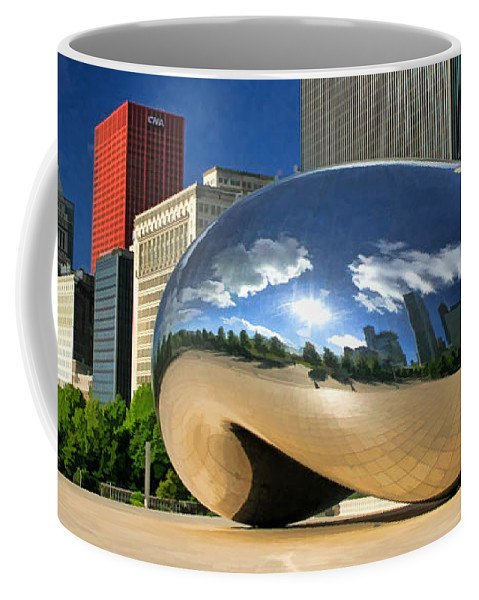 Chicago Coffee Mug featuring the painting Cloud Gate Skyscrapers by Christopher Arndt