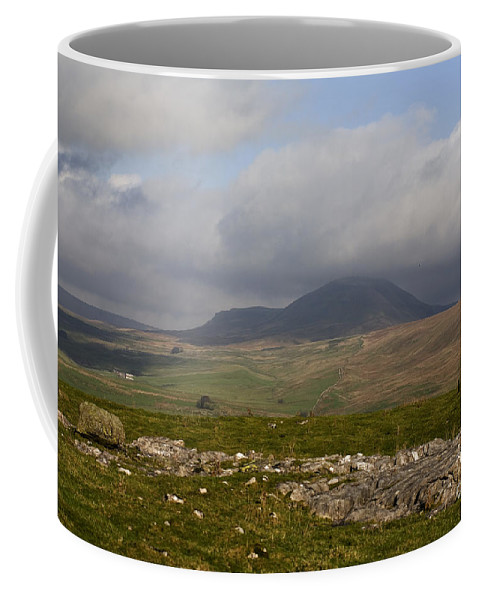 Pen-y-ghent Ribblesdale Pen Y Ghent English British North Yorkshire Dales Limestone Mountain Mountains England Uplands Moor Moors Moorland Upland Hill Hills Fell Fells Cloud Cumulus Clouds Romantic Dramatic Wild Limestone Coffee Mug featuring the photograph Cloud Streaming Across The Summit Of Pen-y-ghent Ribblesdale North Yorkshire England by Michael Walters