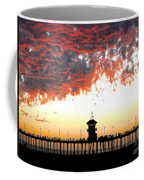 Pier Coffee Mug featuring the photograph Clouds On Fire by Margie Amberge
