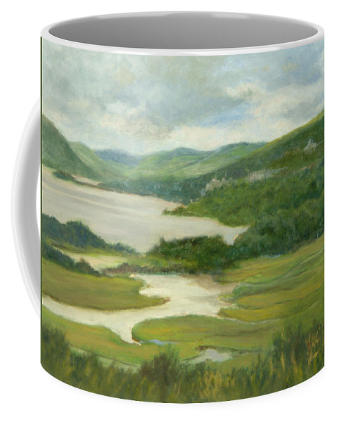Oil Landscape Coffee Mug featuring the painting Clouds Over Constitution Marsh by Phyllis Tarlow