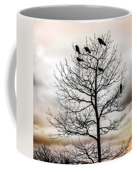 Cloudy Day Coffee Mug featuring the photograph Cloudy Day Blackbirds by Roxy Hurtubise
