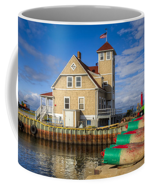 American Coffee Mug featuring the photograph Coast Guard Station by Debra and Dave Vanderlaan