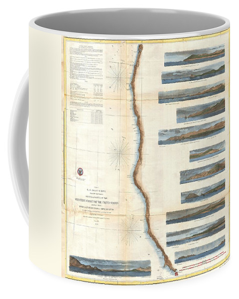 Coffee Mug featuring the photograph Coast Survey Chart Or Map Of California And Oregan North Of San Francisco by Paul Fearn