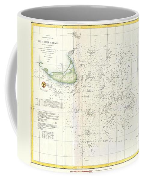 Coffee Mug featuring the photograph Coast Survey Nautical Chart Or Map Of Nantucket Massachusetts by Paul Fearn