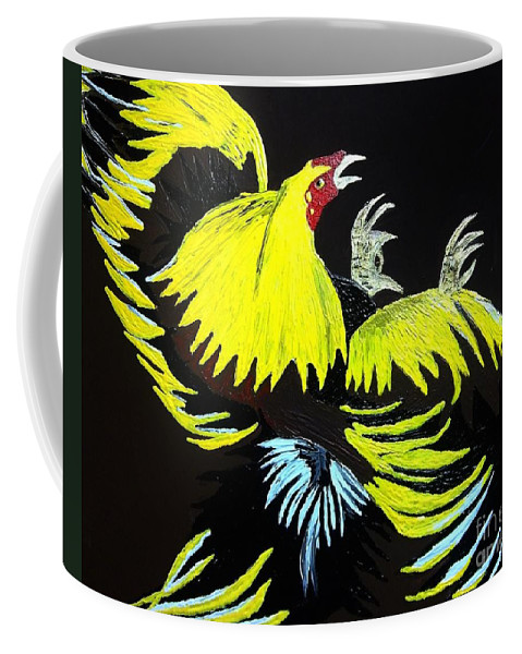 Rooster Fight Coffee Mug featuring the painting Cock Fight Or Flight by Saundra Myles