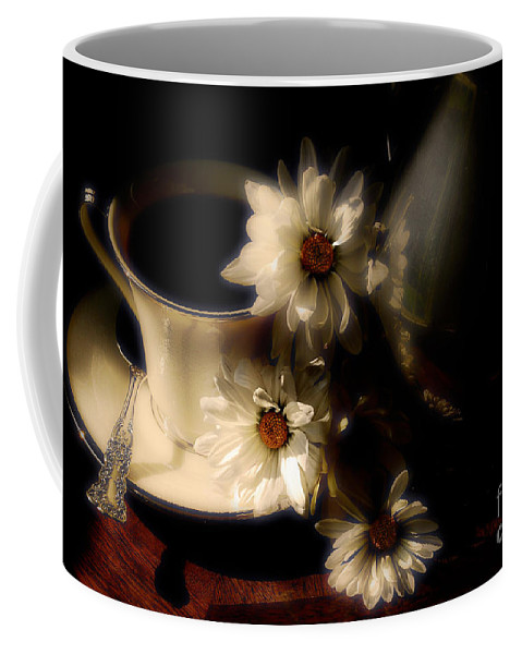 Coffee Coffee Mug featuring the photograph Coffee And Daisies by Lois Bryan