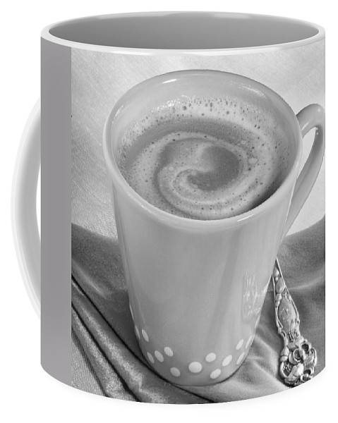Coffee Coffee Mug featuring the photograph Coffee In Tall Yellow Cup Black And White by Iris Richardson