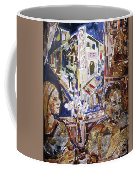 Coffeehouse Coffee Mug featuring the painting Coffeehouse Of The Mind by Faye Cummings
