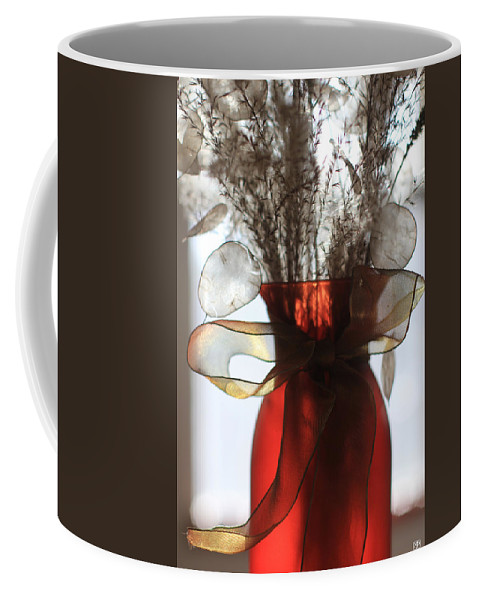 Red Vase Coffee Mug featuring the photograph Coin Flowers And Red Vase by John Meader