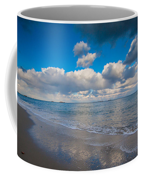 New England Beach Coffee Mug featuring the photograph Cold And Windy Beach Day by Brian MacLean