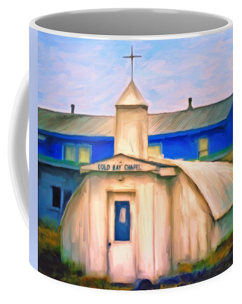 Old Church Coffee Mug featuring the painting Cold Bay Chapel by Michael Pickett