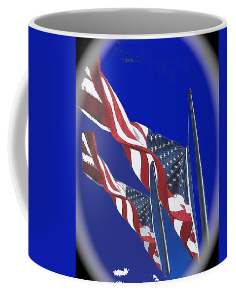 Collage Half Mast Flag Honoring President Ronald Reagan Number 2 Casa Grande Az June 2004-2013 Vignetted Color Added Coffee Mug featuring the photograph Collage Half Mast Flag Honoring President Ronald Reagan Number 2 Casa Grande Az 2004-2013 Vignetted by David Lee Guss