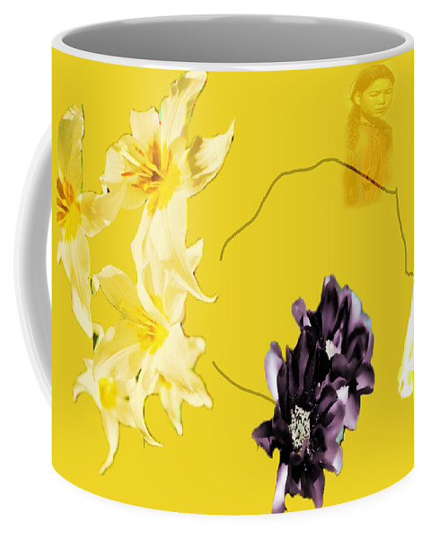 Coffee Mug featuring the digital art Collage In Yellow by Cathy Anderson