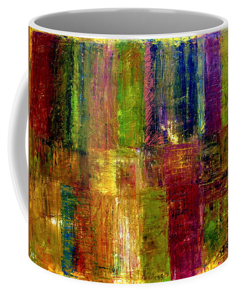 Abstract Coffee Mug featuring the painting Color Panel Abstract by Michelle Calkins