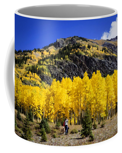 Nature Coffee Mug featuring the painting Colorado Autumn Hike by Janice Pariza