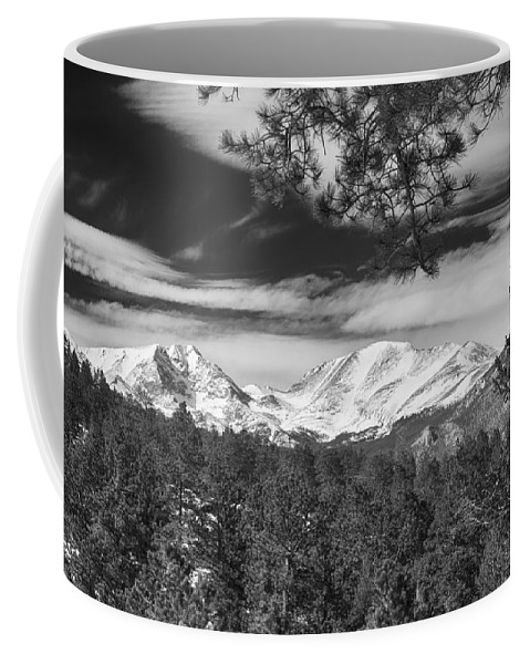 Rockies Coffee Mug featuring the photograph Colorado Rocky Mountain View Black And White by James BO Insogna