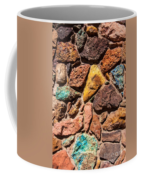 Colored Stones Coffee Mug featuring the photograph Colored Stone Rock Church Wall - Cedar City - Utah by Gary Whitton