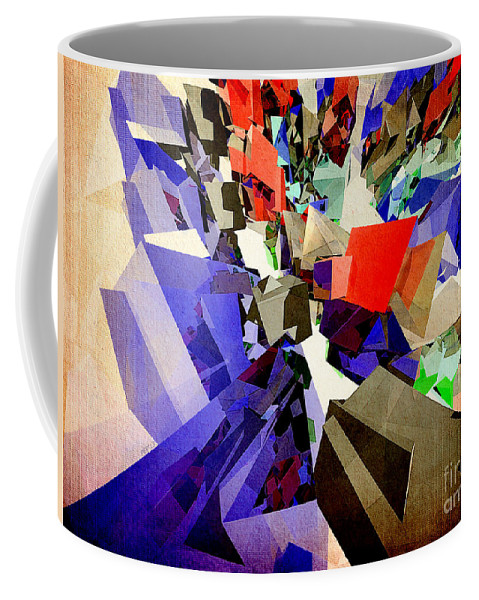 Colorful Coffee Mug featuring the digital art Colorful Abstract Geometric Cluster by Phil Perkins