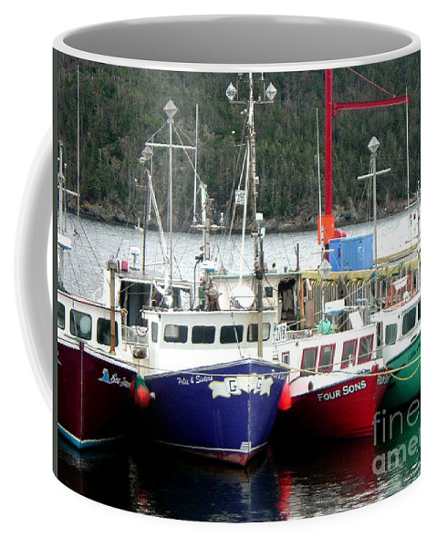Boats Coffee Mug featuring the photograph Colorful Boats Tied Up To The Wharf by Barbara Griffin