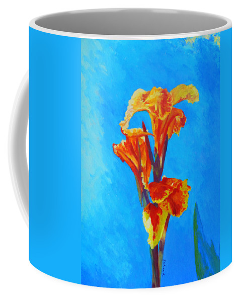 Canna Coffee Mug featuring the painting Colorful Canna by Margaret Saheed