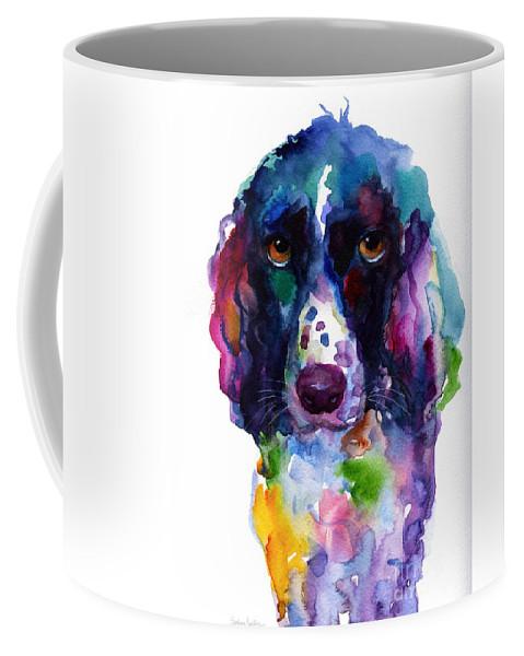Hunter Dog Coffee Mug featuring the painting Colorful English Springer Setter Spaniel dog portrait art by Svetlana Novikova
