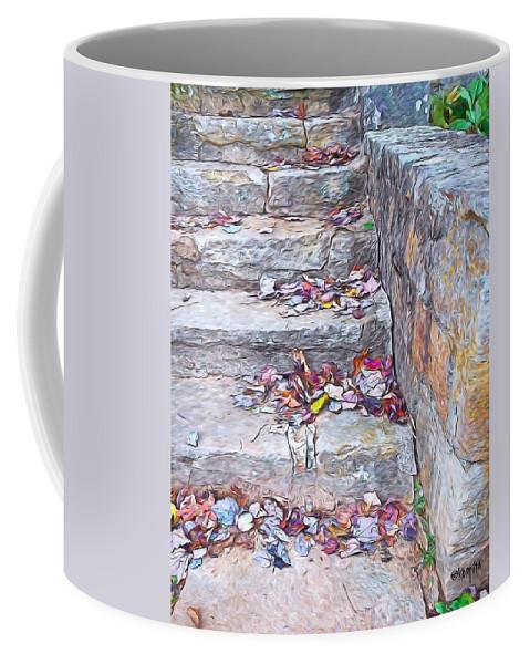 Colorful Fall Leaves Coffee Mug featuring the photograph Colorful Fall Leaves Autumn Stone Steps Old Mentone Inn Alabama by Rebecca Korpita