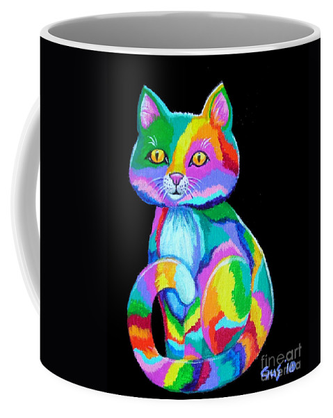 Kitten Coffee Mug featuring the painting Colorful Kitten by Nick Gustafson