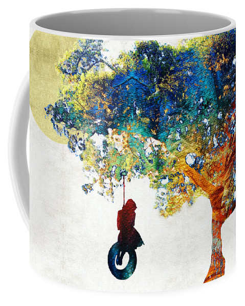 Tree Coffee Mug featuring the painting Colorful Landscape Art - The Dreaming Tree - By Sharon Cummings by Sharon Cummings