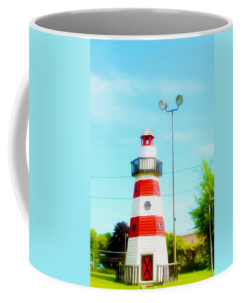 Colorful Lighthouse Coffee Mug featuring the painting Colorful Lighthouse 2 by Jeelan Clark