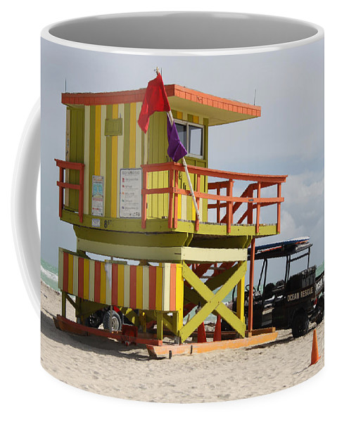 Ocean Rescue Coffee Mug featuring the photograph Colorful Ocean Rescue Miami by Christiane Schulze Art And Photography