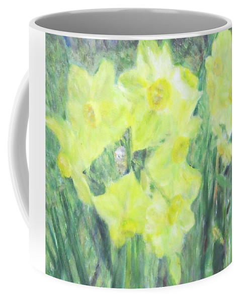 Impressionism Coffee Mug featuring the painting Colorful Yellow Flowers by Glenda Crigger