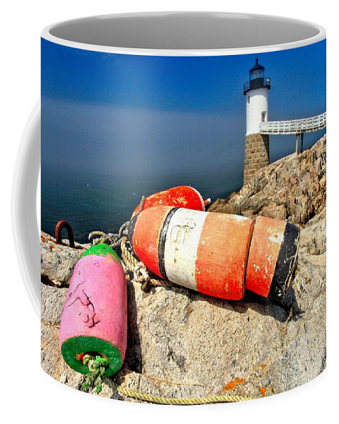 Robinson Point Lighthouse Coffee Mug featuring the photograph Colors On The Rocks by Adam Jewell