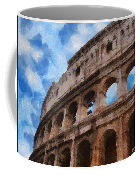 Archaeology Coffee Mug featuring the painting Colosseo by Jeffrey Kolker