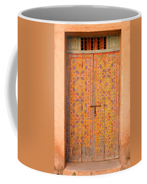 Door Coffee Mug featuring the photograph Colourful Entrance Door Sale Rabat Morocco by Ralph A Ledergerber-Photography