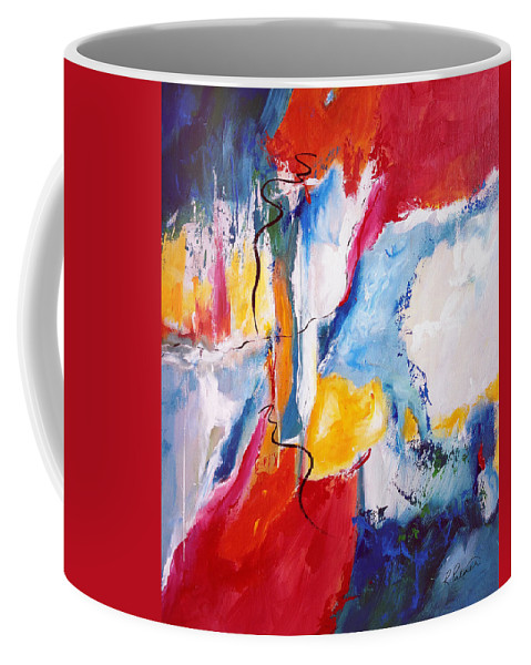 Abstract Coffee Mug featuring the painting Come Down - Isaiah 64 by Ruth Palmer