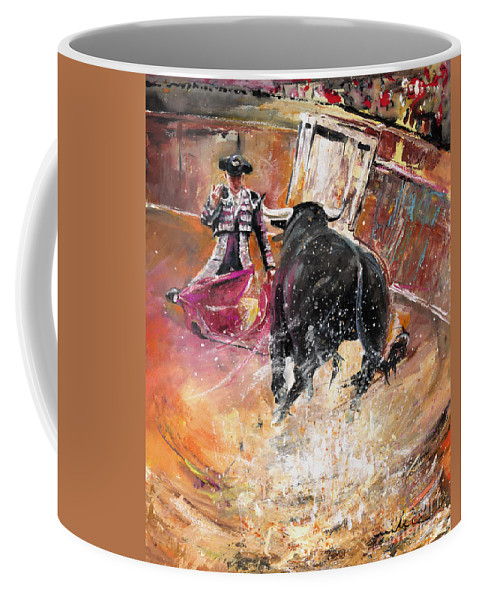 Bullfight Coffee Mug featuring the painting Come If You Dare by Miki De Goodaboom