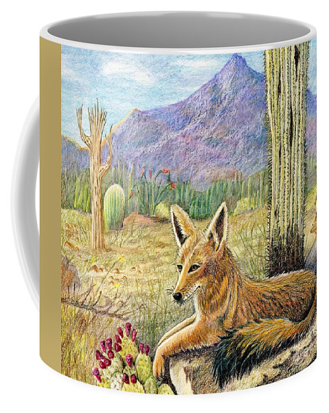 Coyote Coffee Mug featuring the drawing Come One Step Closer by Marilyn Smith