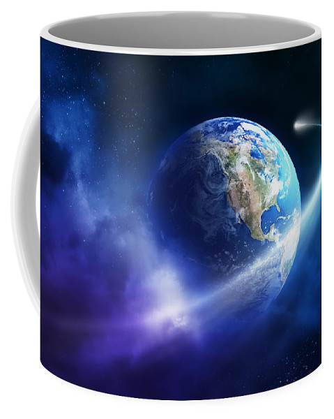 Art Coffee Mug featuring the photograph Comet Moving Passing Planet Earth by Johan Swanepoel